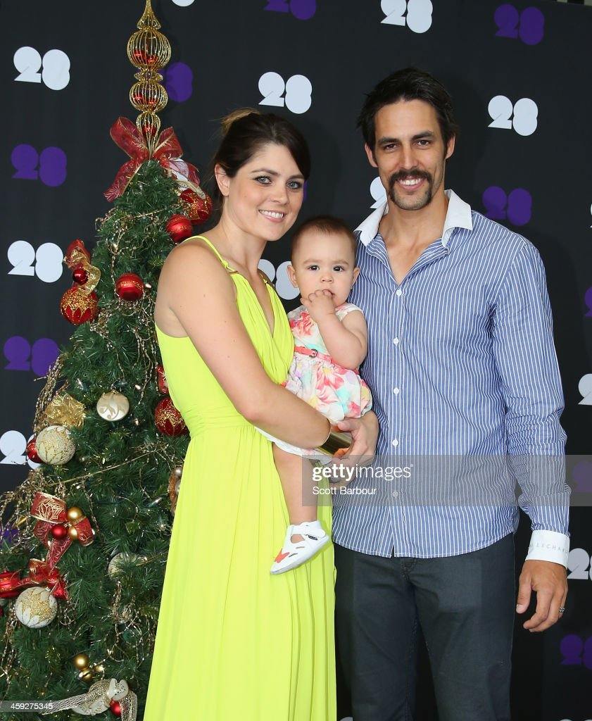 Mitchell Johnson Of Australia Poses With His Wife Jessica Bratich And Daughter Rubika Ahead