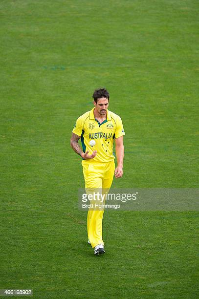 Mitchell Johnson of Australia prepares to bowl a delivery during the 2015 Cricket World Cup match between Australia and Scotland at Bellerive Oval on...