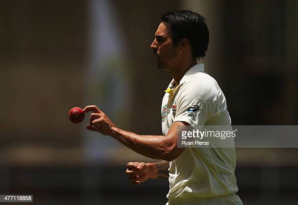 Mitchell Johnson of Australia prepares to bowl during day four of the Second Test match between Australia and the West Indies at Sabina Park on June...