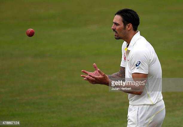 Mitchell Johnson of Australia prepares to bowl during day four of the tour match between Kent and Australia at The Spitfire Ground St Lawrence on...