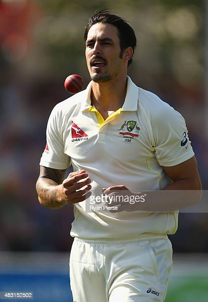 Mitchell Johnson of Australia prepares to bowl during day one of the 4th Investec Ashes Test match between England and Australia at Trent Bridge on...