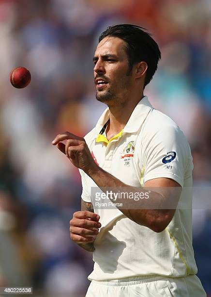 Mitchell Johnson of Australia prepares to bowl during day three of the 1st Investec Ashes Test match between England and Australia at SWALEC Stadium...