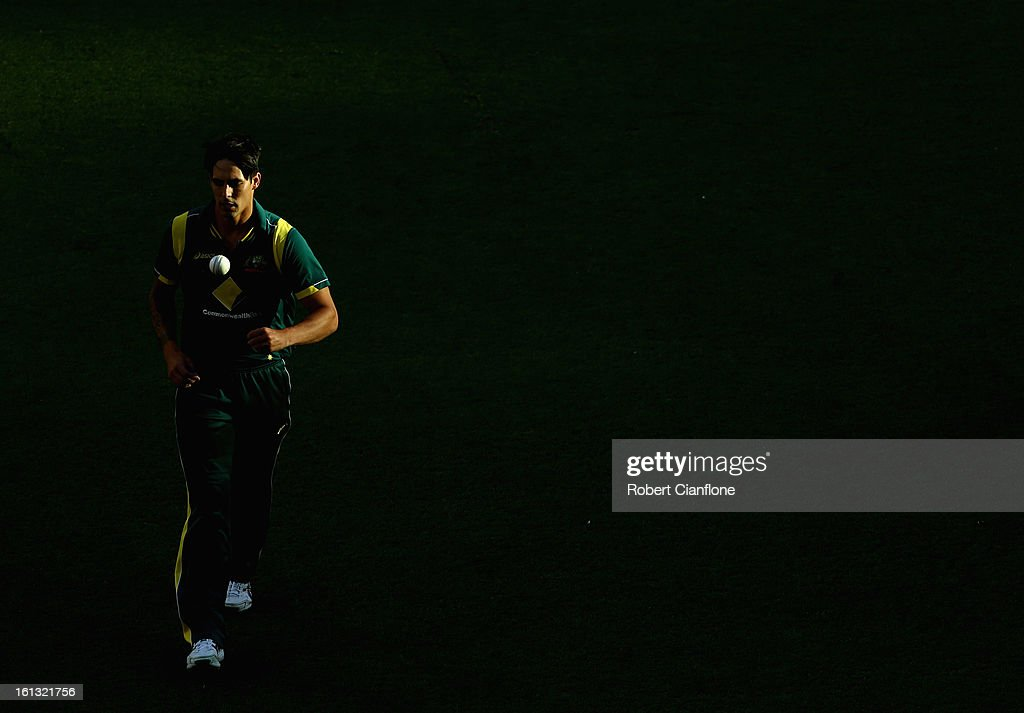 Mitchell Johnson of Australia prepares to bowl during game five of the Commonwealth Bank International Series between Australia and the West Indies at the Melbourne Cricket Ground on February 10, 2013 in Melbourne, Australia.