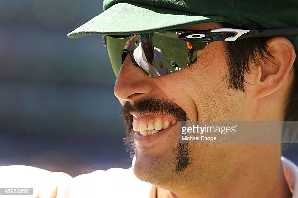 Mitchell Johnson of Australia reacts during day three of the Fourth Ashes Test Match between Australia and England at Melbourne Cricket Ground on...