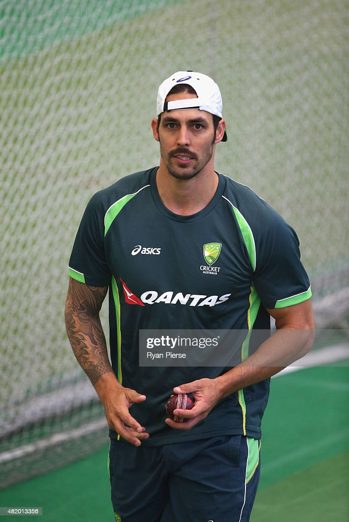 <a gi-track='captionPersonalityLinkClicked' href=/galleries/search?phrase=Mitchell+Johnson+-+Cricket+Player&family=editorial&specificpeople=665783 ng-click='$event.stopPropagation()'>Mitchell Johnson</a> of Australia reacts while bowling during an Australian Nets Session at Edgbaston on July 26, 2015 in Birmingham, England.