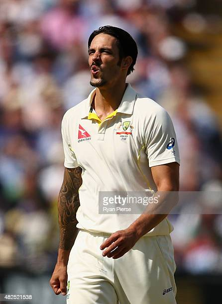 Mitchell Johnson of Australia reacts while bowling during day three of the 3rd Investec Ashes Test match between England and Australia at Edgbaston...