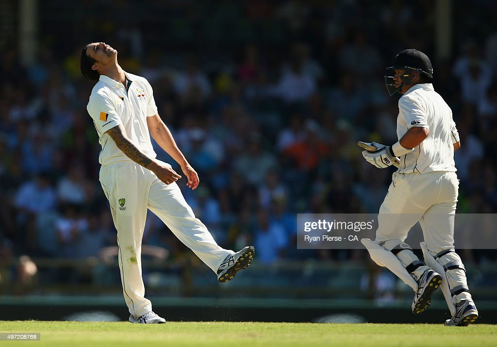 <a gi-track='captionPersonalityLinkClicked' href=/galleries/search?phrase=Mitchell+Johnson+-+Cricket+Player&family=editorial&specificpeople=665783 ng-click='$event.stopPropagation()'>Mitchell Johnson</a> of Australia reacts while bowling during day three of the second Test match between Australia and New Zealand at WACA on November 15, 2015 in Perth, Australia.