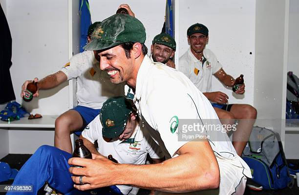 Mitchell Johnson of Australia relaxes in the change rooms after his last test match during day five of the second Test match between Australia and...