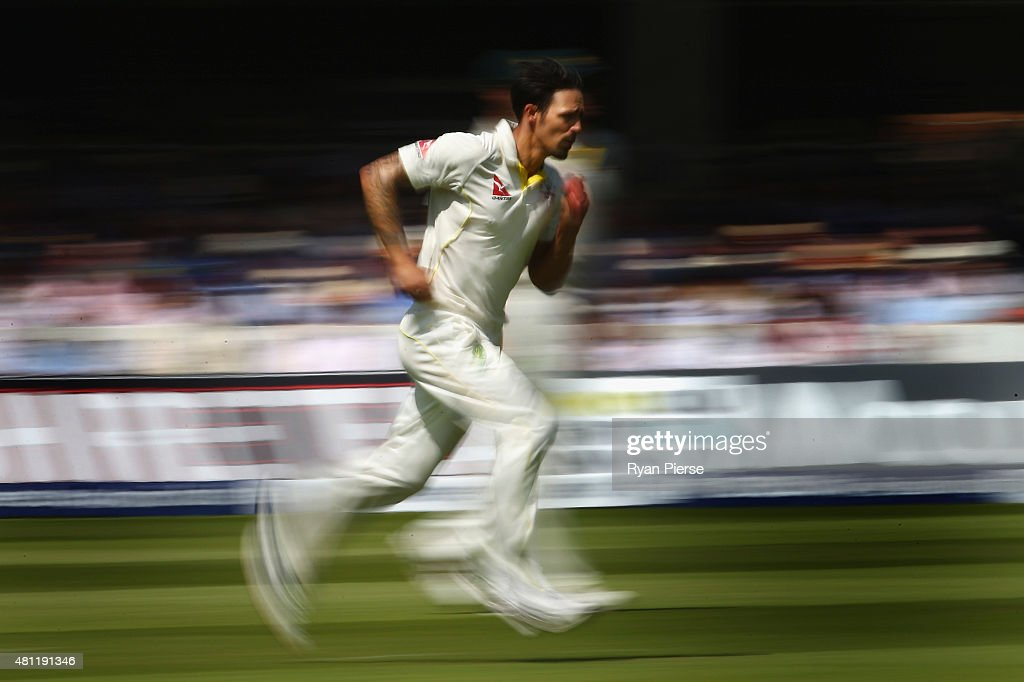 <a gi-track='captionPersonalityLinkClicked' href=/galleries/search?phrase=Mitchell+Johnson+-+Cricket+Player&family=editorial&specificpeople=665783 ng-click='$event.stopPropagation()'>Mitchell Johnson</a> of Australia runs in to bowl during day three of the 2nd Investec Ashes Test match between England and Australia at Lord's Cricket Ground on July 18, 2015 in London, United Kingdom.