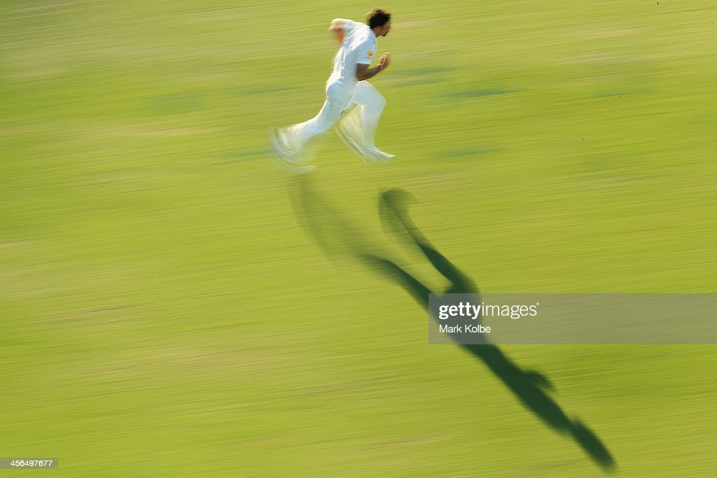 Mitchell Johnson of Australia runs in to bowl during day two of the Third Ashes Test Match between Australia and England at WACA on December 14, 2013 in Perth, Australia.