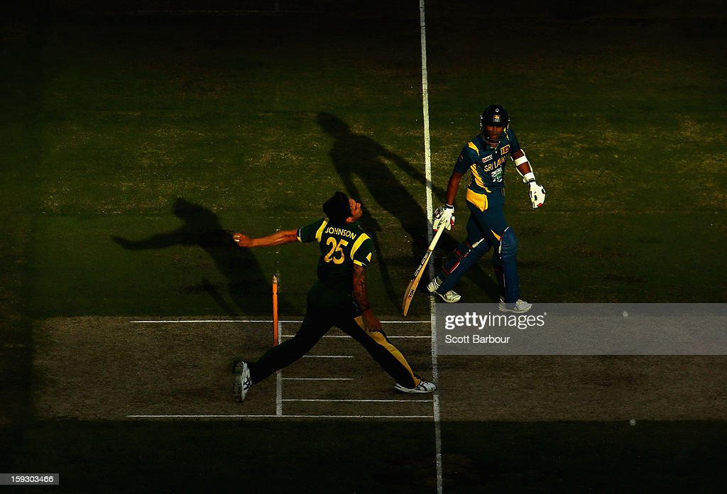 Mitchell Johnson of Australia runs in to bowl during game one of the Commonwealth Bank One Day International series between Australia and Sri Lanka at Melbourne Cricket Ground on January 11, 2013 in Melbourne, Australia.