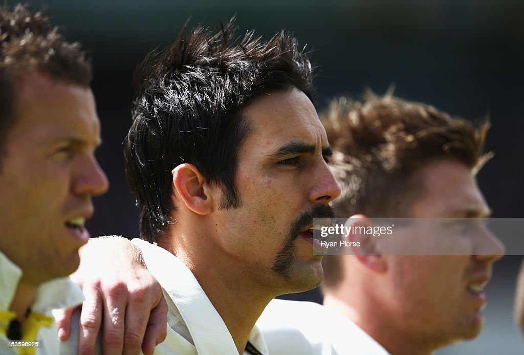 Mitchell Johnson of Australia sings the national anthem during day one of the Second Ashes Test Match between Australia and England at Adelaide Oval on December 5, 2013 in Adelaide, Australia.