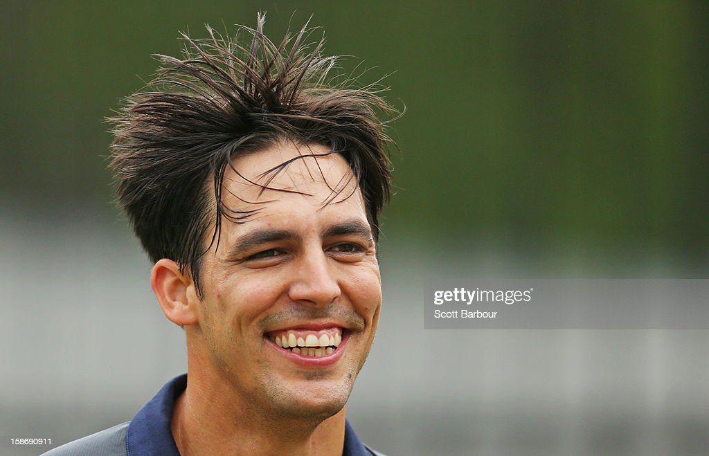Mitchell Johnson of Australia smiles during an Australian training session at the Melbourne Cricket Ground on December 24, 2012 in Melbourne, Australia.