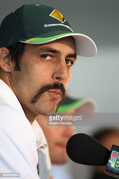 Mitchell Johnson of Australia speaks to the media after day four of the Fourth Ashes Test Match between Australia and England at Melbourne Cricket...