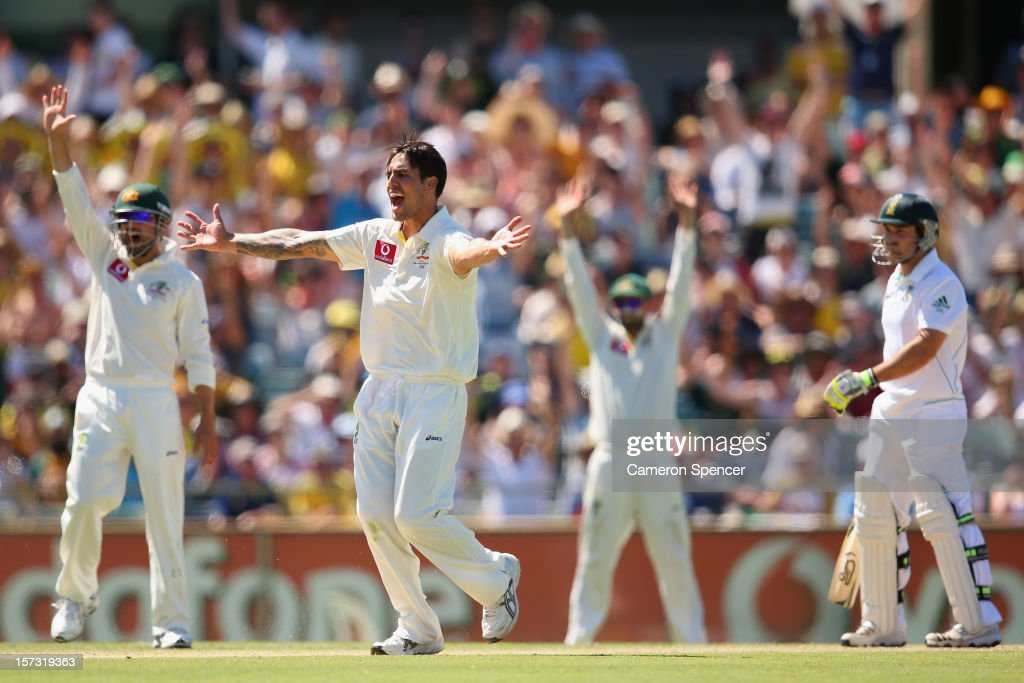 Mitchell Johnson of Australia successfully appeals for lbw to dismiss Dean Elgar of South Africa during day three of the Third Test Match between Australia and South Africa at the WACA on December 2, 2012 in Perth, Australia.