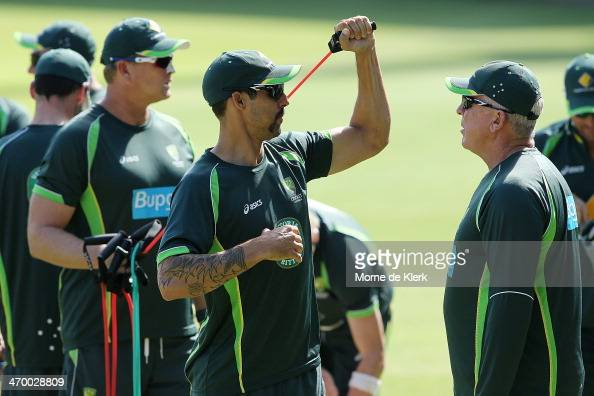 Mitchell Johnson of Australia warms up during a nets session at St Georges Park Cricket stadium on February 18 2014 in Port Elizabeth South Africa
