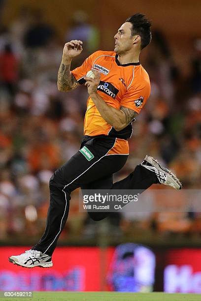 Mitchell Johnson of the Scorchers bowls during the Big Bash League between the Perth Scorchers and Adelaide Strikers at WACA on December 23 2016 in...
