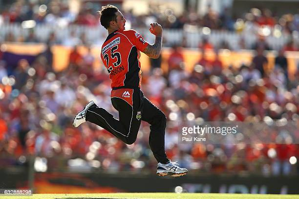 Mitchell Johnson of the Scorchers bowls during the Big Bash League match between the Perth Scorchers and the Sydney Sixers at WACA on January 28 2017...
