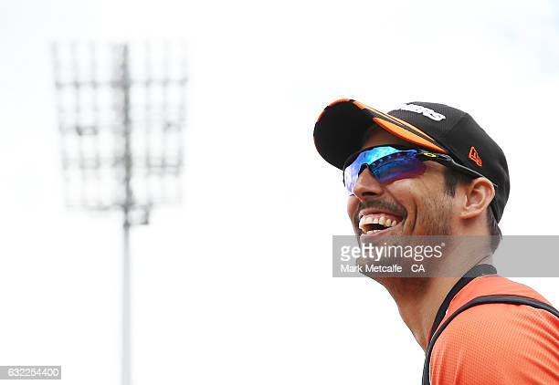 Mitchell Johnson of the Scorchers looks on before the Big Bash League match between the Hobart Hurricanes and the Perth Scorchers at Blundstone Arena...