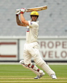 Mitchell Johnson of the Warriors plays a shot during day two of the Sheffield Shield match between the Victorian Bushrangers and the Western...