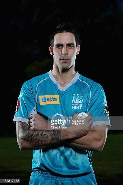 Mitchell Johnson poses during a Brisbane Heat Big Bash League media day at JC Slaughter Fields on July 24 2013 in Brisbane Australia