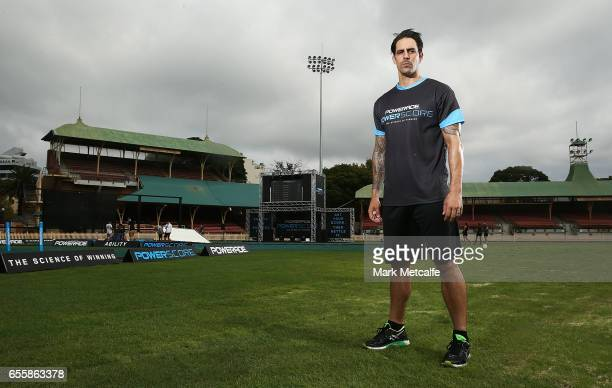 Mitchell Johnson poses during the Powerade Powerscore Launch Event at North Sydney Oval on March 21 2017 in Sydney Australia