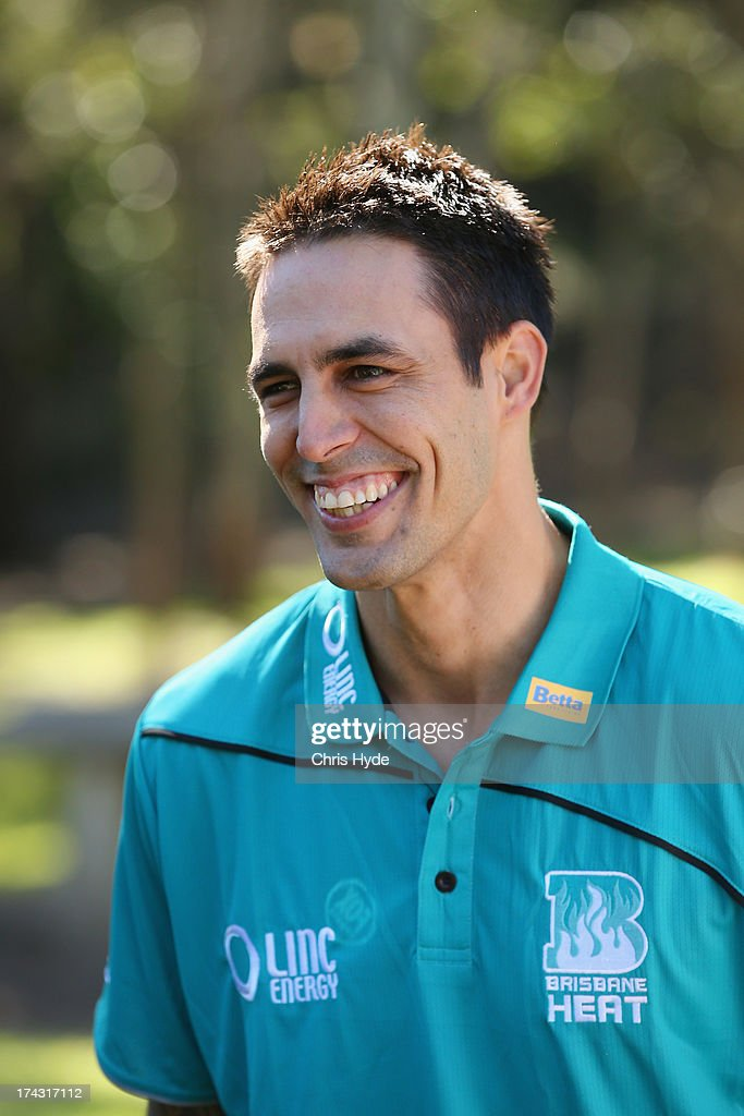 Mitchell Johnson speaks to media during a Brisbane Heat Big Bash League media day at JC Slaughter Fields on July 24, 2013 in Brisbane, Australia.