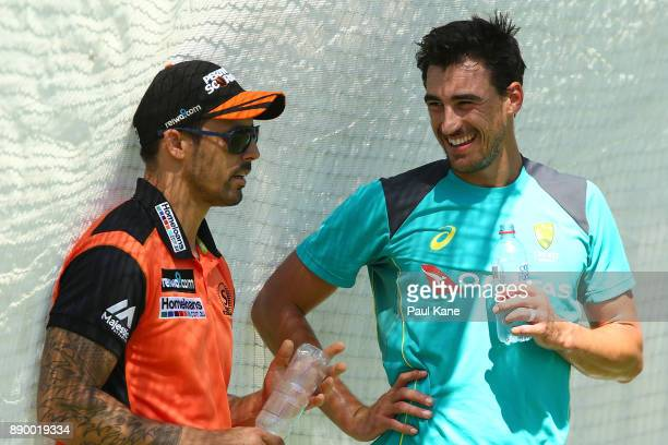 Mitchell Johnson talks with Mitchell Starc of Australia during an Australian nets session at WACA on December 11 2017 in Perth Australia