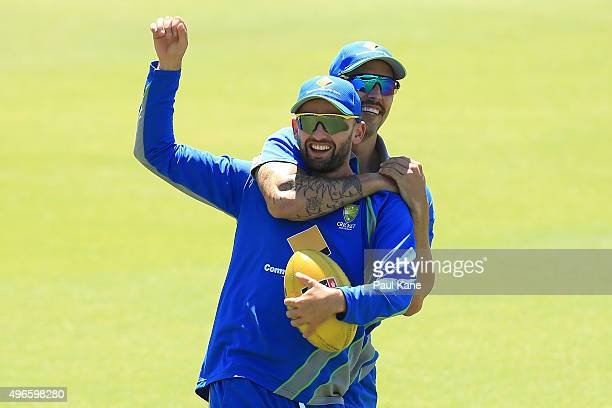 Mitchell Johnson wrestles with Nathan Lyon as players warm up during an Australian nets session at WACA on November 11 2015 in Perth Australia
