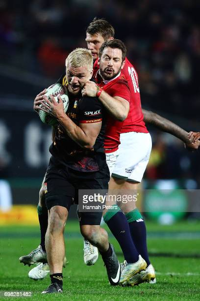 Mitchell Karpik of the Chiefs charges forward during the match between the Chiefs and the British Irish Lions at Waikato Stadium on June 20 2017 in...