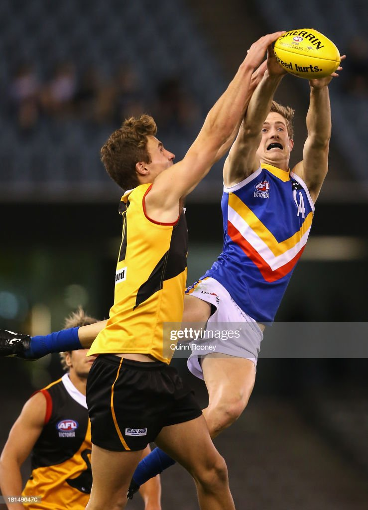 Mitchell Keedle of the Ranges marks during the TAC Cup final match between Eastern Ranges and the Dandenong Southern Stingrays at Etihad Stadium on September 22, 2013 in Melbourne, Australia.