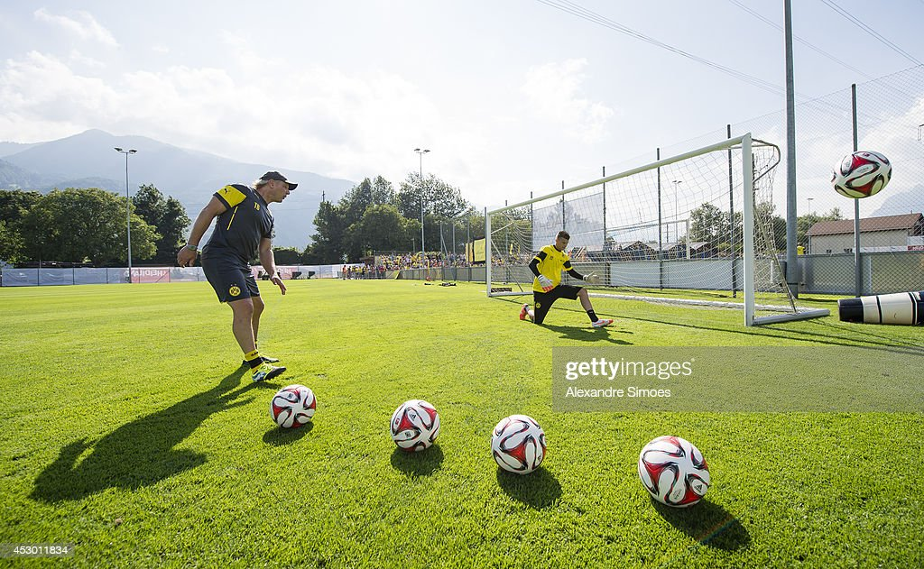 Mitchell Langerak (BVB) and goalkeeping coach Wolfgang de Beer (BVB) of Borussia Dortmund during a training session in the Borussia Dortmund training camp on July 31, 2014 in Bad Ragaz, Switzerland.