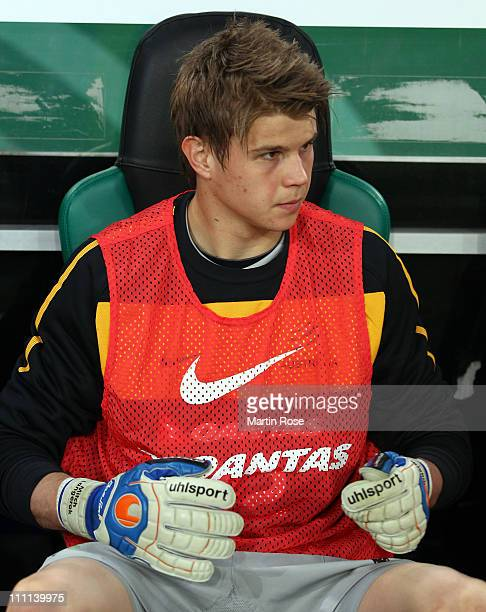 Mitchell Langerak goalkeeper of Australia warms up before the international friendly match between Germany and Australia at BorussiaPark on March 29...