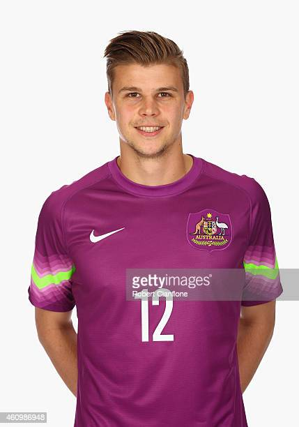 Mitchell Langerak of Australia poses during an Australian Socceroos headshot session at the InterContinental Hotel on January 3 2015 in Melbourne...