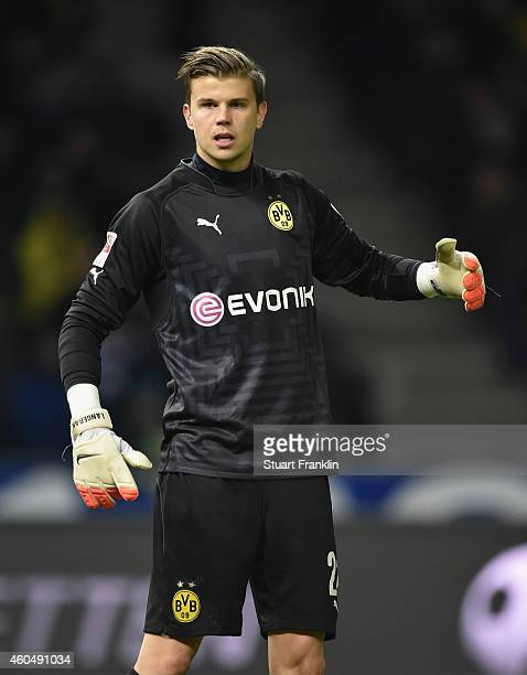 Mitchell Langerak of Dortmund in action during the Bundesliga match between Hertha BSC and Borussia Dortmund at Olympiastadion on December 13 2014 in...