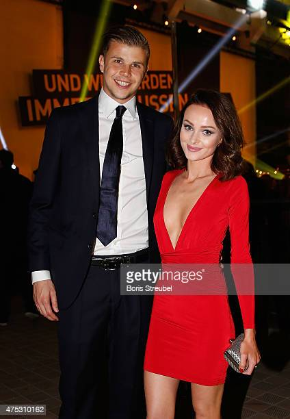 Mitchell Langerak of Dortmund pose with his girlfriend Rhiannon Woods during the Borussia Dortmund Champions party after the DFB Cup final 2015 at...