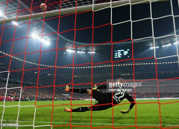 Mitchell Langerak of Dortmund watches the penalty shot of Manuel Neuer of Muenchen miss during the penalty shoot out during the DFB Cup semi final...