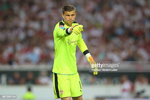 Mitchell Langerak of Stuttgart gestures during the Second Bundesliga match between VfB Stuttgart and FC St Pauli at MercedesBenz Arena on August 8...