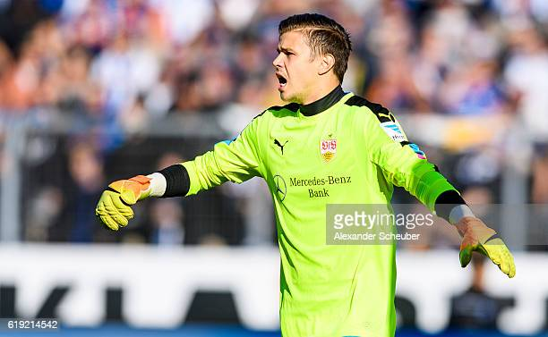 Mitchell Langerak of Stuttgart reacts during the Second Bundesliga match between Karlsruher SC and VfB Stuttgart at Wildparkstadion on October 30...