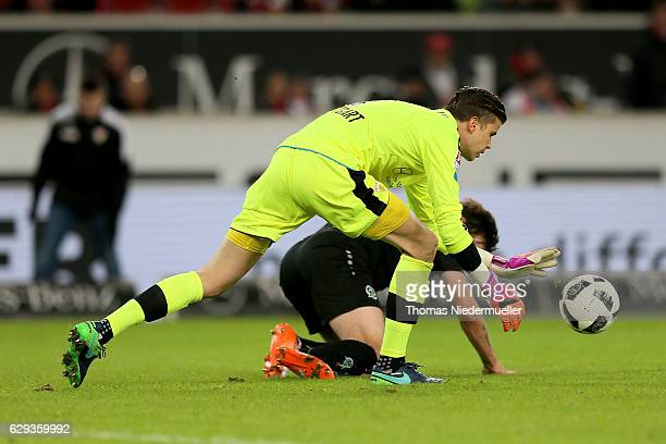 Mitchell Langerak of Stuttgart saves the ball against Martin Harnik of Hannover during the Second Bundesliga match between VfB Stuttgart and Hannover...