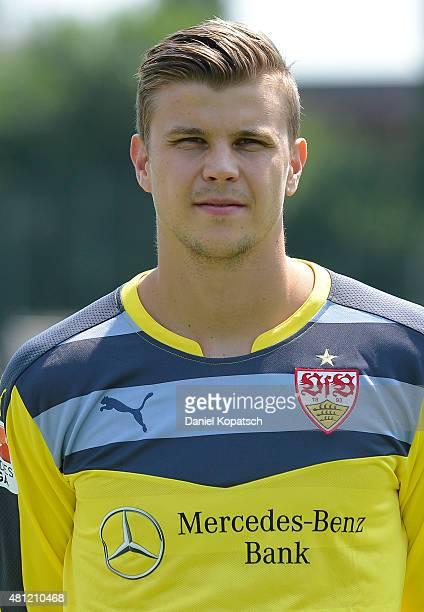 Mitchell Langerak poses during the VfB Stuttgart team presentation on July 17 2015 in Stuttgart Germany
