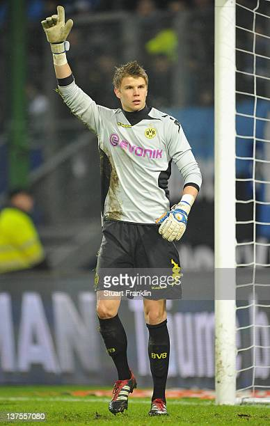 Mitchell Langeraky of Dortmund in action during the Bundesliga match between Hamburger SV and Borussia Dortmund at Imtech Arena on January 22 2012 in...
