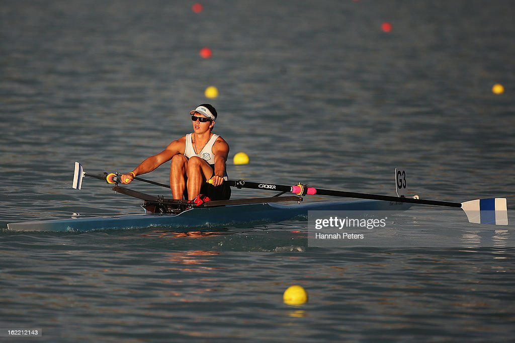Mitchell MacKenzie-Mol of Picton competes in the Men's U20 1X semifinal during day three of the New Zealand Rowing Championships at Lake Ruataniwha on February 21, 2013 in Wellington, New Zealand.