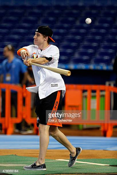 Mitchell Marner a 2015 NHL top Draft Prospect steps in for batting practice during the Media Tour at Marlins Park on June 24 2015 in Miami Florida