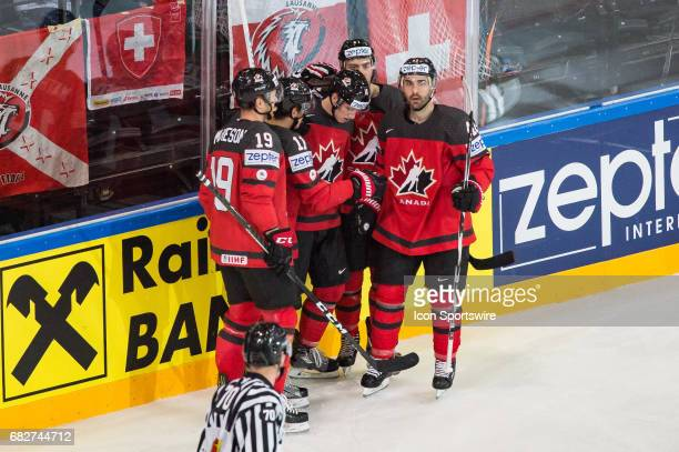 Mitchell Marner celebrates his goal with teammates during the Ice Hockey World Championship between Canada and Switzerland at AccorHotels Arena in...
