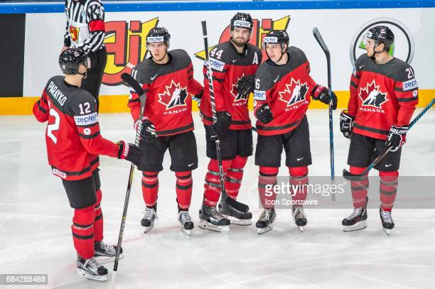 Mitchell Marner celebrates his goal with teammates during the Ice Hockey World Championship between Canada and Finland at AccorHotels Arena in Paris...