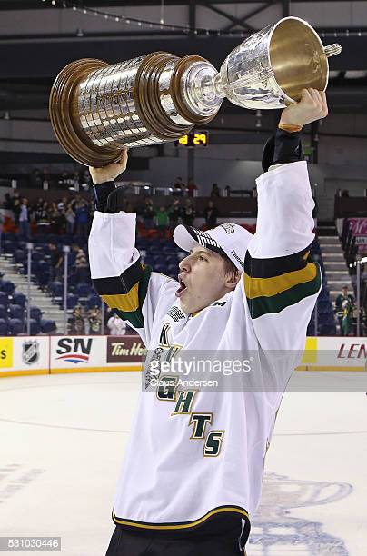 Mitchell Marner of the London Knights celebrates victory against the Niagara IceDogs in Game Four of the OHL Championship final for the JRoss...