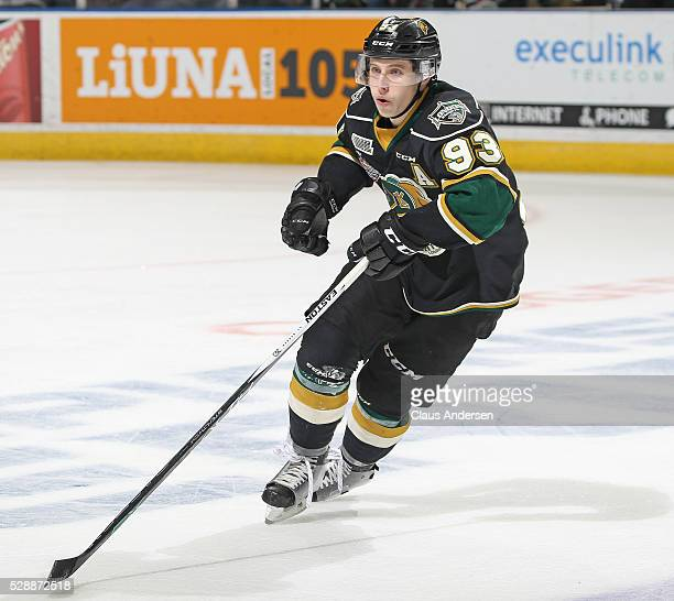 Mitchell Marner of the London Knights skates against the Niagara IceDogs during Game One of the OHL Championship final for the JRoss Robertson Cup on...