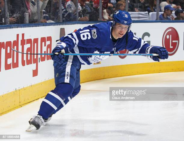 Mitchell Marner of the Toronto Maple Leafs gets set to take on the Minnesota Wild during an NHL game at the Air Canada Centre on November 8 2017 in...