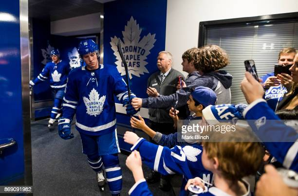 Mitchell Marner of the Toronto Maple Leafs greets fans prior to the game against the Philadelphia Flyers at the Air Canada Centre on October 28 2017...